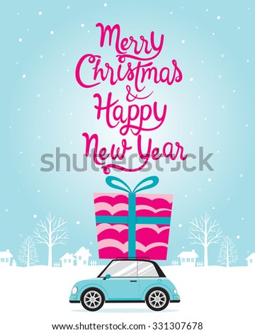 New Year Poster With Lettering, Happy New Year, Merry Christmas, Xmas, Objects, Festive, Celebrations - stock vector