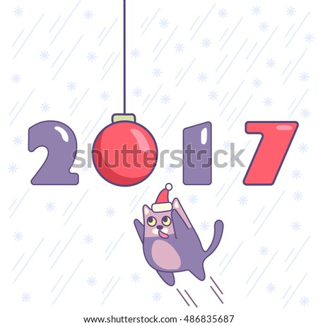 New year poster with numbers, ornament and cat