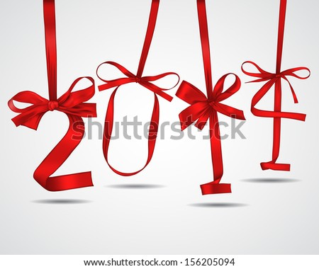 New year red ribbons greeting card - stock vector