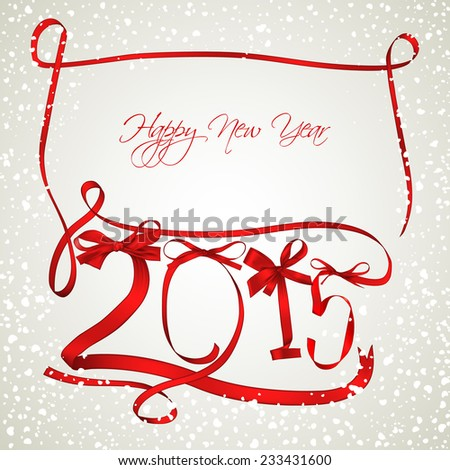 New year red ribbons with snowfall - stock vector