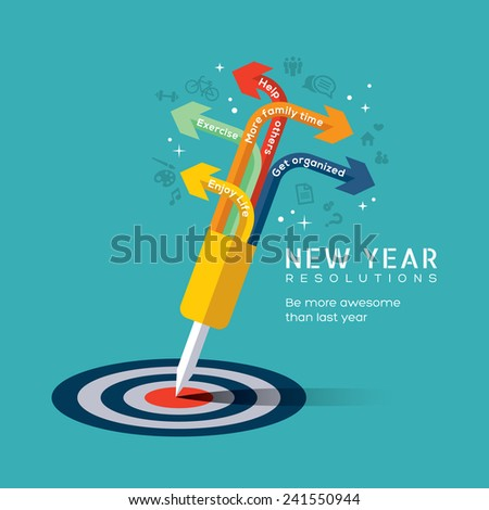 New year resolution concept illustration with dart pinned at center of bullseye target in flat design icons style - stock vector