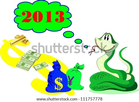 New Year rich green snake with money and gold - stock vector