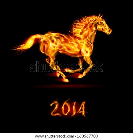 New Year 2014: running fire horse on black background. - stock vector