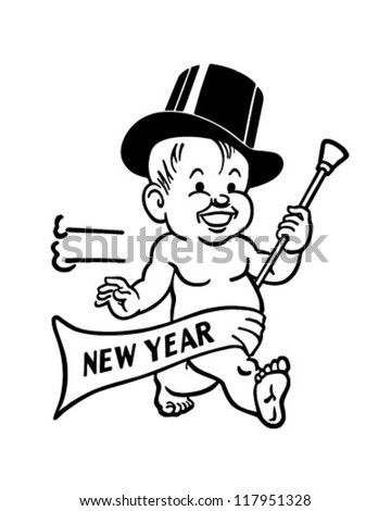 New Year's Baby - Retro Clipart Illustration - stock vector
