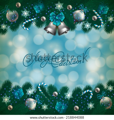 New Year's background - a garland of fir branches, bow, balls, baubles, gifts, bells, candy canes for greeting card, invitation. Christmas festive bokeh background. Vector illustration EPS10. - stock vector