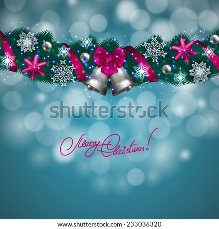 New Year's background - a garland of fir branches, bow, balls, baubles, gifts, bells for greeting card, invitation. Christmas festive bokeh background. Vector illustration EPS10.  - stock vector