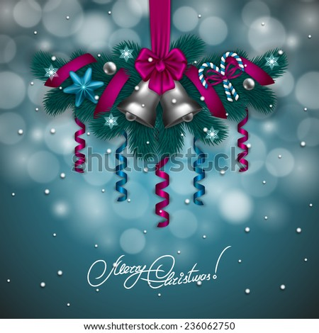 New Year's background - a garland of fir branches, bow, balls, baubles, lollipops, serpentine, bells for greeting card, invitation. Christmas festive bokeh background. Vector illustration EPS10. - stock vector