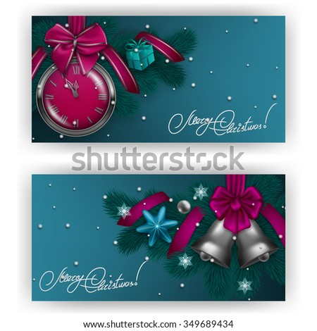 New Year's background - a garland of fir branches, bows, clock, bells, gift, ribbons, baubles, stars for greeting card, party invitation. Christmas festive blue background. Vector illustration EPS10. - stock vector