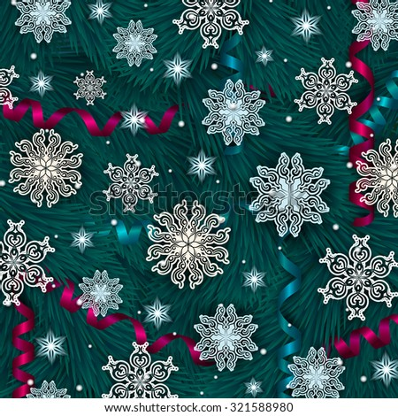New Year's background with paper snowflakes, serpentine, Christmas trees, shiny stars for greeting card, invitation, congratulation. Christmas festive background. Vector illustration EPS10.  - stock vector
