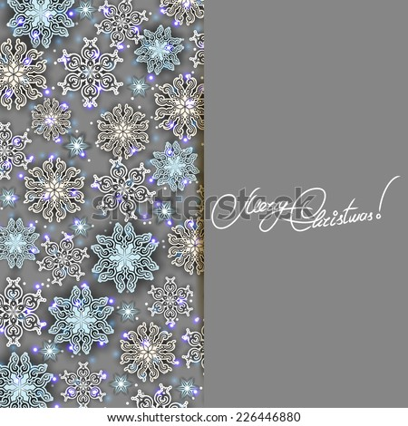 New Year's background with paper snowflakes, shiny stars for greeting card, invitation, congratulation. Christmas festive background. Vector illustration EPS10.  - stock vector