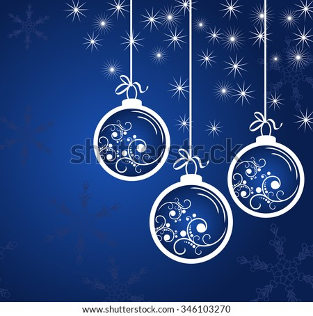 New Year's blue background with white balls and snowflakes - stock vector