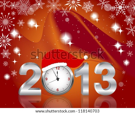 New Year's card. Silver 2013 with clock in Santa's hat, and snowflakes. 10 EPS. Vector illustration.