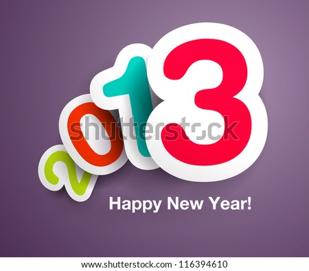 New Year`s celebration card design with floating numbers- ideal for designs for kids, and other happy holiday illustrations - stock vector