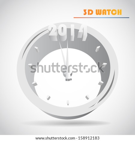 New Year's clock 3d vector