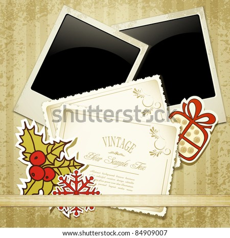 New Year's congratulatory background with vintage cards and photographs - stock vector