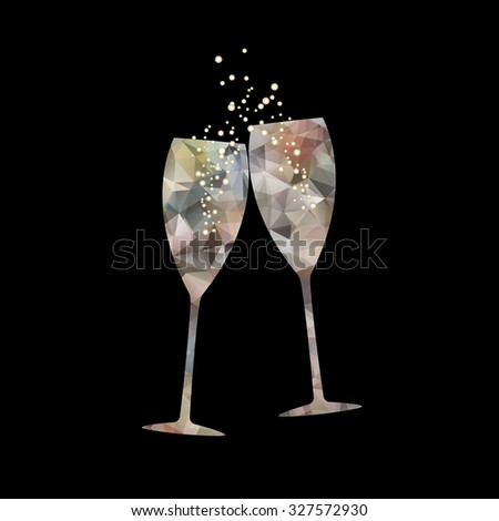 New Year's crystal glasses with splashes of champagne on black background. Polygonal vector illustration.