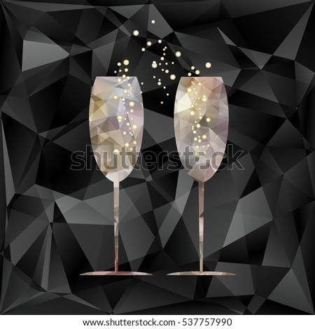 New Year's crystal glasses with splashes of champagne on triangles vector background.