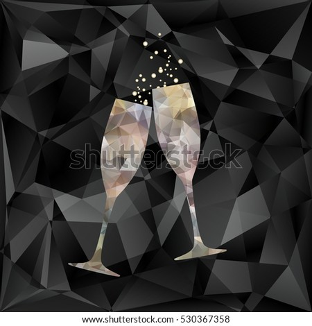 New Year's crystal glasses with splashes of champagne on triangles vector background. Polygonal vector illustration.