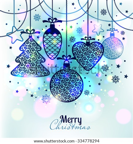 New Year's greeting card merry Christmas. Bright New Year's toys on a soft background with snowflakes. - stock vector