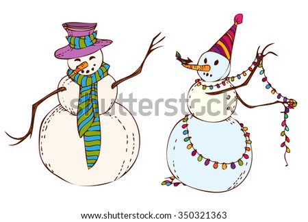 New Year's hand drawn snowman in Christmas caps and scarfs, with garland and bird. Christmas element, background, design. Vector illustration.