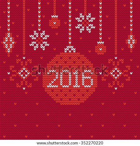 New Year's knitting greeting card with Christmas decorations in Red and White. Perfect for  winter greetings. Star, ball, bauble. Happy New Year 2016 - stock vector