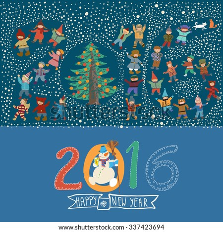 New Year's or Christmas card with funny cartoon kids and a snowman with a broom. The figures from 2016 are laid out figures of children and Christmas tree. Christmas flash mob. - stock vector