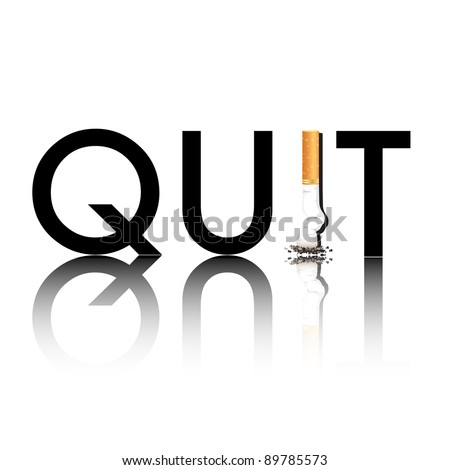 New Year's resolution Quit Smoking concept with the i in quit being replaced by a stubbed out cigarette. EPS10 vector format. - stock vector