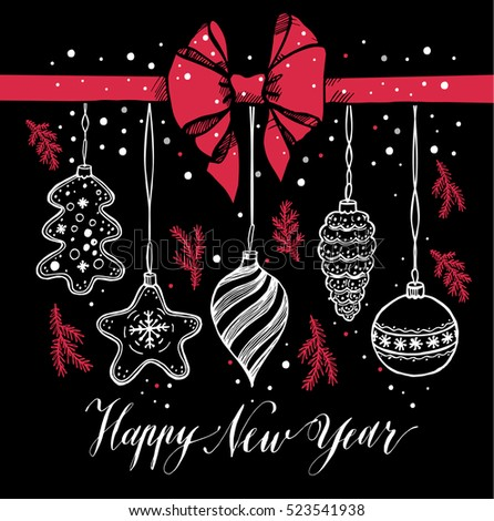 New Year's toys hand drawn style on black with red bow and snow. Vector greeting card for Christmas.