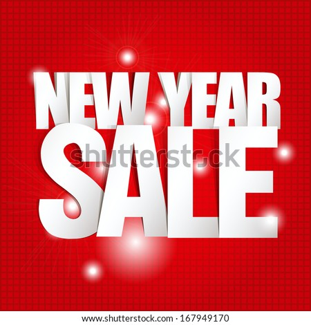 New Year Sale Paper Folding Design  - stock vector