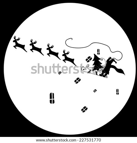 New Year Santa Claus Reindeer  - stock vector