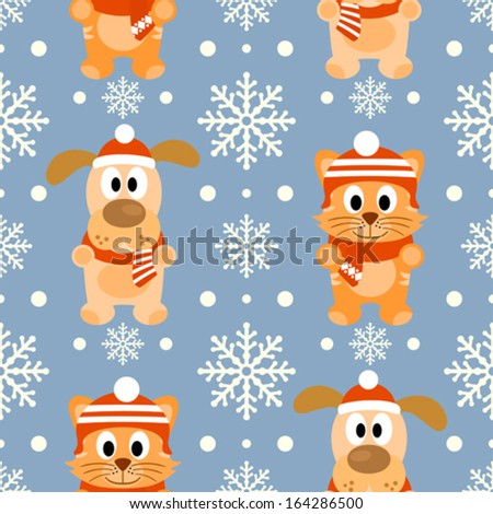 New Year seamless background with funny cat and dog - stock vector