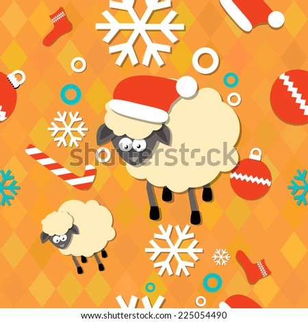 New Year 2015 seamless pattern with snowflakes and sheep. - stock vector