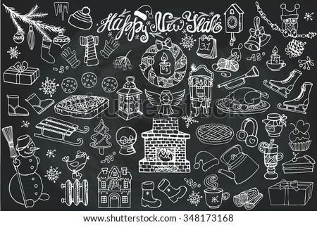 New year season doodle set.Knitted wear, winter decoration,snowflakes,food,snowman,fireplace with other holiday symbols,Christmas elements.Vintage Hand drawn vector,Chalkboard background.