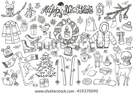 New year season doodle set.Winter wear, sport,gifts,snowflakes,food,animals with other holiday symbols,Christmas elements.Hand drawn vector, isolated linear background. - stock vector