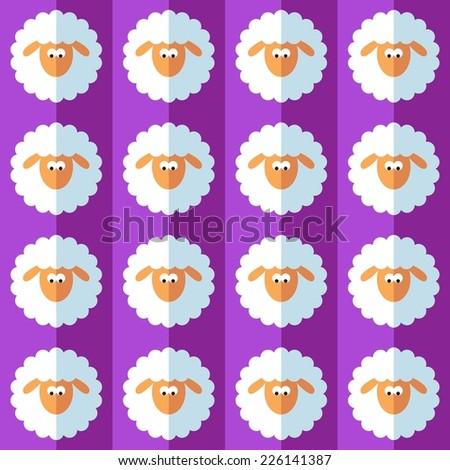 New year sheep seamless pattern on violet