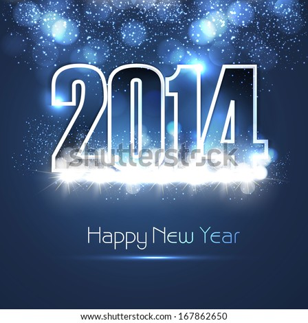 New year 2014 shiny blue colorful fantastic background vector - stock vector