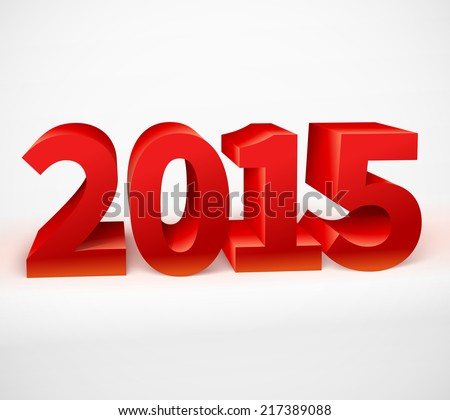 New year 2015 shiny 3d red. Vector illustration  - stock vector