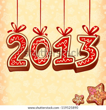 New Year sign 2013 made from hand drawn christmas sweets on creamy colors background - stock vector