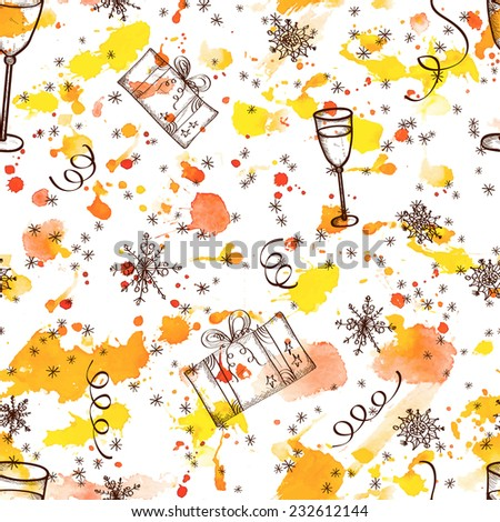 New Year Sketch on watercolor hand drawn background. Vector seamless festive pattern.