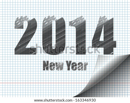 New Year sketching. Drawing on notebook sheet.Imitation of marker - stock vector