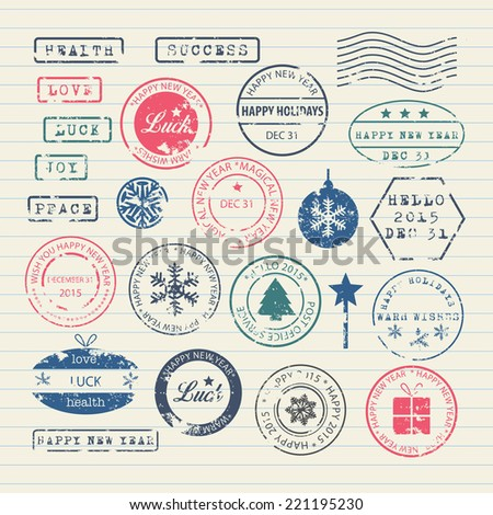 New Year stamps set  - stock vector