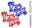 New year sticker - stock