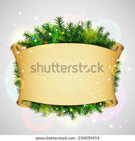 New Year template with blank parchment and christmas tree twigs. Qualitative vector (EPS-10) illustration for new year's day, christmas, winter holiday, new year's eve, silvester, etc - stock vector