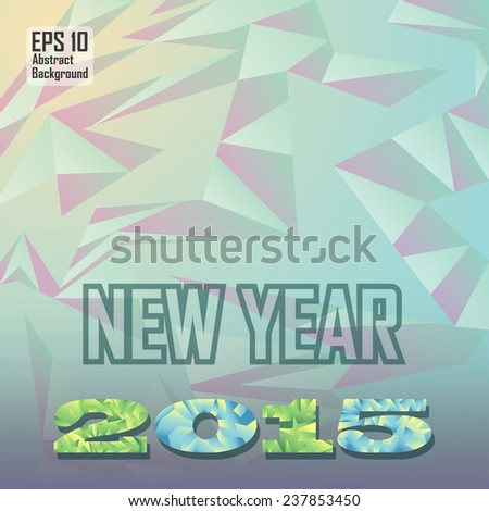 new year text and number on abstract cubism background - stock vector
