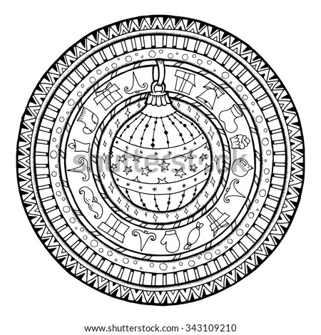doodle christmas ball on ethnic circle ornament hand drawn art winter - Christmas Mandalas Coloring Book