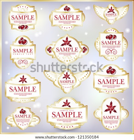 New Year Theme. Set of white ornate labels. Grouped for easy editing. Perfect for labels or stickers for wine, tea, coffee, soap, beer, powder, cologne and etc. - stock vector