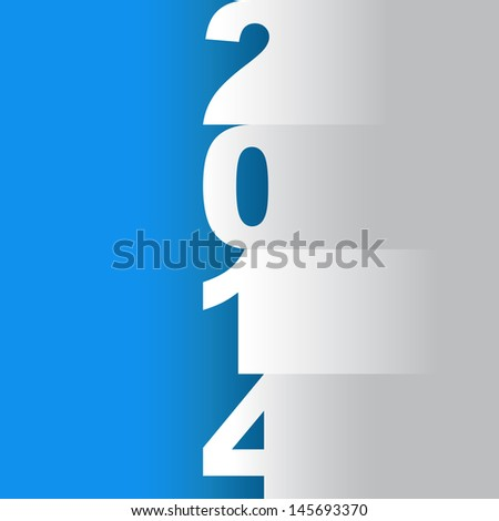 new year 2014 tittle, paper cuts on a red background - illustration - stock vector