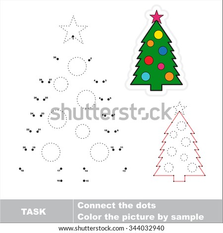 New year tree to be traced. Vector numbers game.  - stock vector