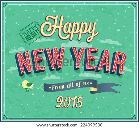 New year typographic design. Vector illustration. - stock vector