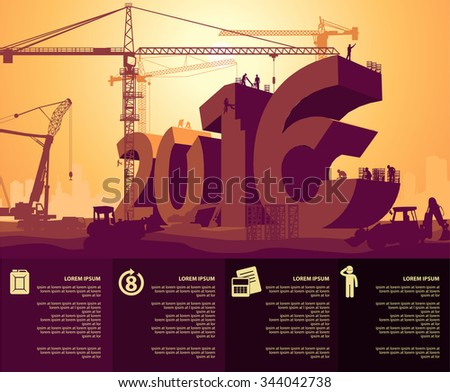 new year under construction - stock vector